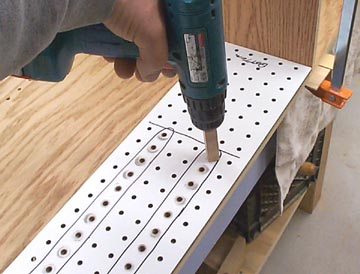 How to make shelf pin holes line up.... the cheap way!